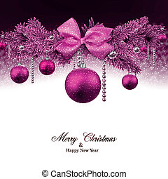 Christmas background with fir branches and balls. - Magenta...