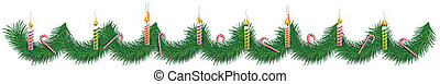 Christmas background with fir branches and caramel canes and burning candles. Vector illustration.