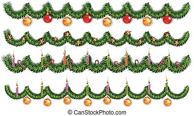 Christmas background with fir branches and toy balls. Vector illustration.
