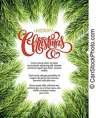 Christmas background with fir branches frame. Vector illustration