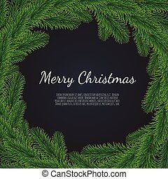 Christmas background with fir branches. Realistic fir-tree border.