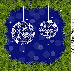 Christmas background with fir branches. Vector illustration