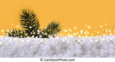 Christmas background with fir tree branch and snow.