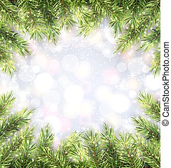 Christmas Background with Fir Tree Branches Frame