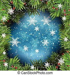 christmas background with fir tree branches on snowflakes 1109
