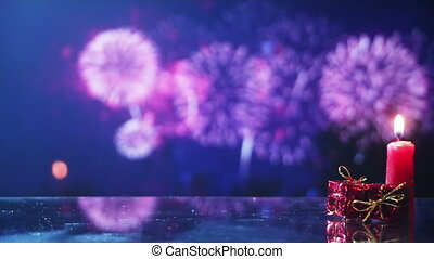 christmas background with fireworks seamless loop