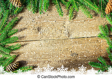 Christmas Background With Firtree On Rustic Wood