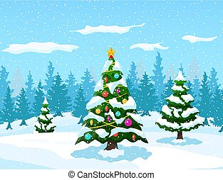 Christmas background with forest