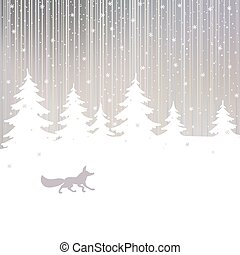 Christmas background with fox and winter forest