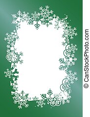 Christmas Background With Frame Of Snowflakes.