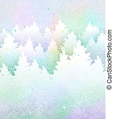 Christmas background with frosty winter forest