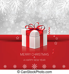 Christmas Background with Gift Box - Christmas background...