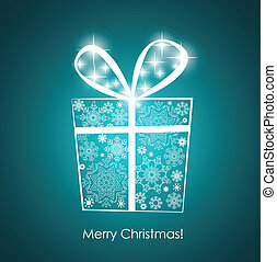 Christmas background with gift box, vector illustration. EPS10