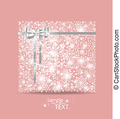 Christmas background with gift box made from snowflakes. Vector illustration.