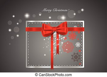 Christmas background with gift box, vector illustration.