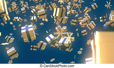 Christmas background with gift boxes and snowflakes on blue