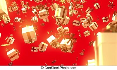 Christmas background with gift boxes and snowflakes on red