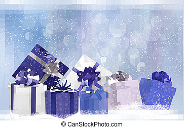Christmas background with gift boxes and snowflakes. Vector illustration.