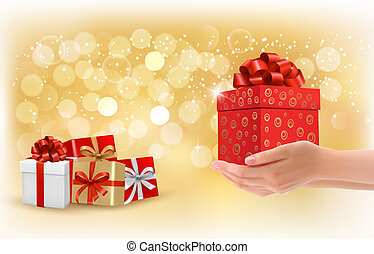 Christmas background with gift boxes. Concept of giving...
