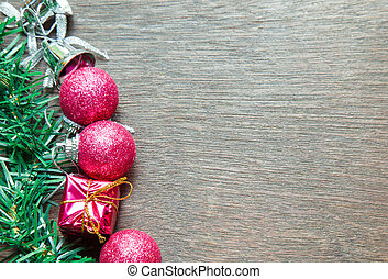 Christmas background with gift boxes on wooden board