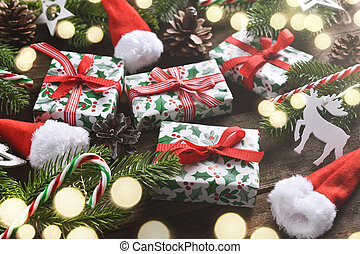 Christmas background with gift boxes  on wooden table