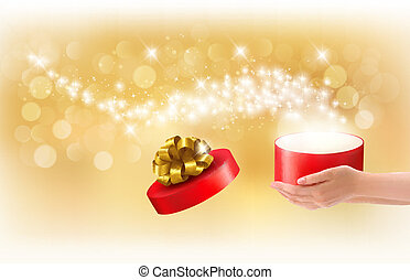 Christmas background with gift magic box. Concept of giving...