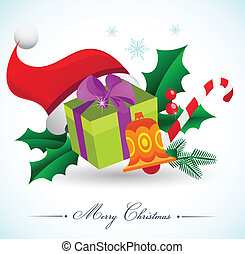 Christmas background with gifts and elements