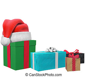 christmas background with gifts santa hat 3d