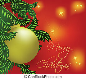 Christmas background with gold ball. Vector