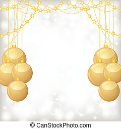 Christmas background with gold balls and gold beads garland