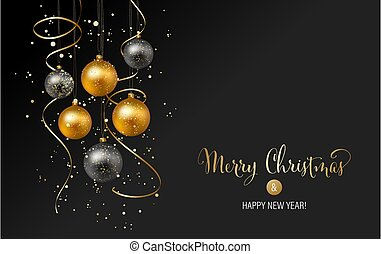 Christmas background with gold baubles and serpentine