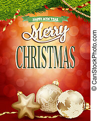 Christmas background with gold baubles. EPS 10