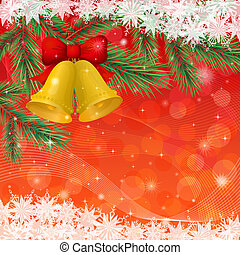 Christmas background with gold bells and snowflakes