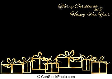 Christmas background with gold gift