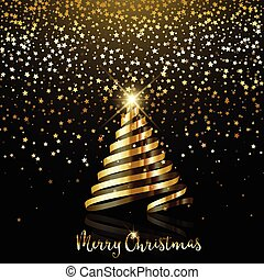 Christmas background with gold star confetti and gold ribbon tree