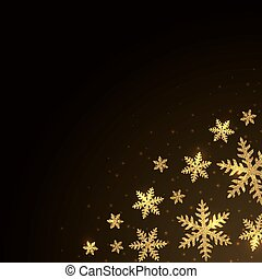 Christmas background with gold tinsel snowflakes