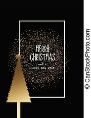 christmas background with gold tree and glitter 0409