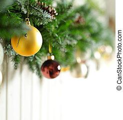 Christmas background with gold Xmas decoration on white