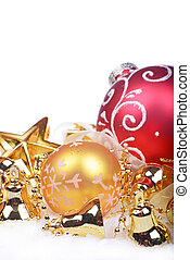 Christmas background with golden balls and bells