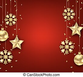 Christmas Background with Golden Balls, Stars and Snowflakes