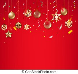 Christmas background with golden baubles on rope