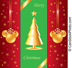Christmas Background with golden Christmas tree and Christmas toys. Vector illustration
