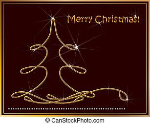 Christmas background with golden fir