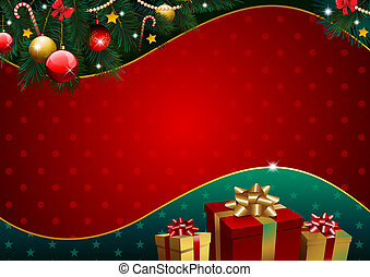 Christmas background with golden gift and pattern paper