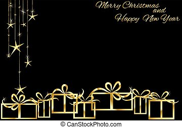 Christmas background with golden gift