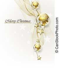 Christmas background with golden globes