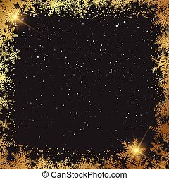christmas background with golden snowflake border 1811