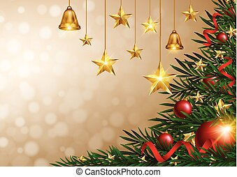 Christmas background with golden stars and bells