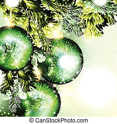 Christmas background with green baubles hang on a branch
