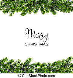 Christmas background with green Pine Branches. Vector -...